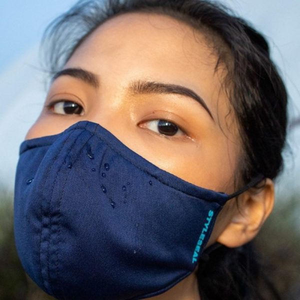 woman wearing styleseal basic face mask navy blue water repellent